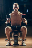 Athlete muscular bodybuilder training back with Royalty Free Stock Photo