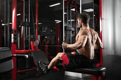Athlete muscular bodybuilder training back on simulator in the gym Royalty Free Stock Photos