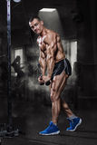 Athlete muscular bodybuilder training in the gym stock photography