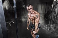 Athlete muscular bodybuilder training on simulator in the gym Stock Photos