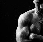 Athlete muscular brutal bodybuilder strong male naked torso posi Royalty Free Stock Photography