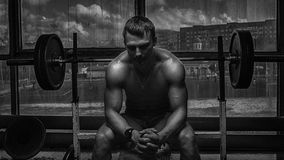 Athlete in old rusty gym Royalty Free Stock Photography