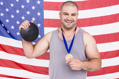 Athlete with olympic gold medal Stock Photography