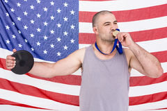 Athlete with olympic gold medal Stock Photos