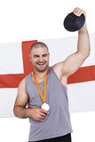 Athlete with olympic gold medal Stock Images