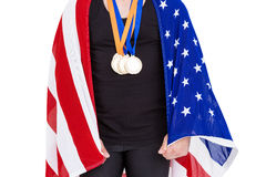 Athlete with olympic gold medal Stock Image