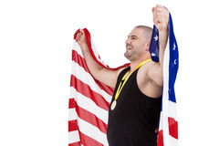 Athlete with olympic gold medal Royalty Free Stock Images