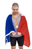 Athlete with olympic gold medal Royalty Free Stock Photo