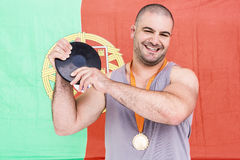 Athlete with olympic gold medal Royalty Free Stock Photography