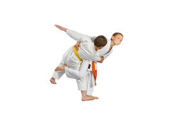 Athlete with orange belt is perfoming throw Stock Photography