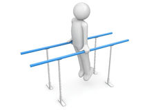 Athlete on the parallel bars Royalty Free Stock Image