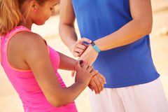 Athlete People Sports Training Programming Fitwatch Fitband Watc Stock Photos