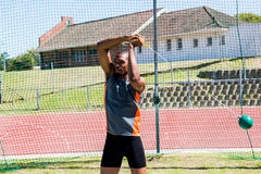 Athlete performing a hammer throw Stock Image