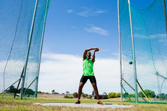 Athlete performing a hammer throw. In stadium royalty free stock images