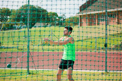 Athlete performing a hammer throw royalty free stock photos