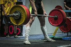 Athlete performs a deadlift Royalty Free Stock Photo