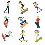 Athlete performs skateboard stunts. 9 high quality skateboard cyclist silhouettes. vector illustration