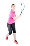 Athlete player with racket for tennis on a white background stock photos
