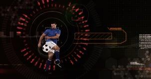 Athlete playing football against animated background