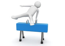 Athlete on a pommel horse Stock Images