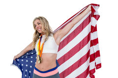 Athlete posing with american flag after victory Royalty Free Stock Photo