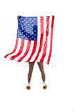 Athlete posing with american flag after victory Stock Images