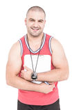 Athlete posing with sport timer and clipboard Royalty Free Stock Photography