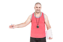 Athlete posing with sport timer and a clipboard. Portrait of athlete posing with sport timer and a clipboard on white background Royalty Free Stock Photo
