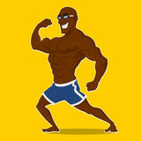 Athlete posing. Vector illustration. beach bodybuilding Stock Images