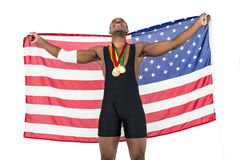 Free Athlete Posing With Gold Medals After Victory Royalty Free Stock Photography - 77885367