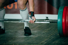 Athlete of powerlifter deadlift Royalty Free Stock Photo