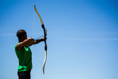 Athlete practicing archery Stock Images