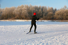Athlete practicing cross-country skiing Stock Photography
