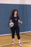 Athlete preparing to put the ball in the game Stock Photography