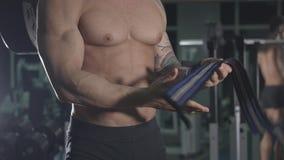 Athlete preparing to train stock video