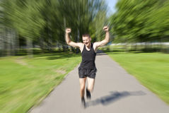 Athlete ran to the finish Royalty Free Stock Images