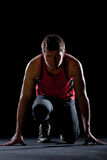 Athlete ready to start Stock Images