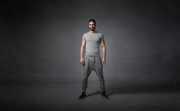 Athlete ready for work out. Dark background Stock Image