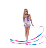 Athlete rhythmic gymnastics performs with ribbon Royalty Free Stock Images