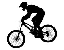Athlete rider on bike. Mountain biking black silhouette royalty free illustration