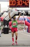 Athlete Roger Roca wins La Cursa de la Merce Royalty Free Stock Photography