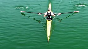 Athlete rower rowing, slow motion video. Athlete rower rowing, slow motion full HD video stock footage