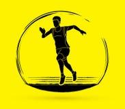 Athlete runner, A man runner running graphic vecgtor. Athlete runner, A man runner running illustration graphic vector Stock Image