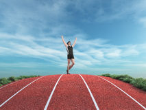 Athlete runner rises his hands to the sky Stock Photos