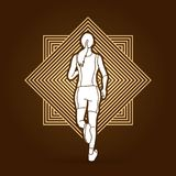 Athlete runner, running back view graphic vector. Athlete runner, running back view illustration graphic vector Stock Photography