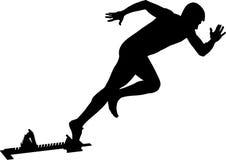 Athlete runner start to sprint. From starting blocks black silhouette stock illustration