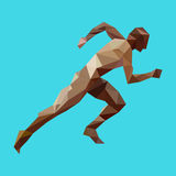 Athlete runner. In the style of low poly Royalty Free Stock Image