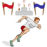 Athlete runner. Vector illustration athlete runner in the competition with the finish line , a podium and medals Stock Images