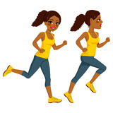 Athlete Runner Woman. Beautiful young African American athlete runner woman on two different running action  on white background Stock Images