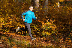 Athlete  running in the forest in autumn Stock Photography